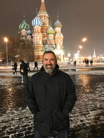 Former CIA official Marc Polymeropoulos visiting Moscow in late 2017, where he says he was attacked by a microwave weapon.